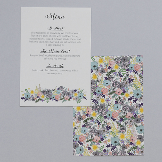 Menu From The Amelia Collection