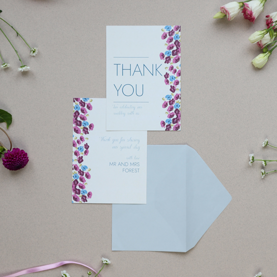 Thank you card from the Arabella Collection