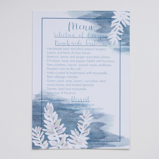 Menu for the Aurora Collection